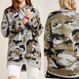 Anthropologie Vera Camo Cozy Cardigan Sweater